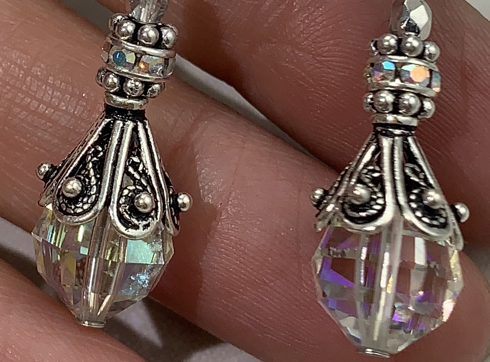 Filigree Sterling Silver and Aurora Borealis Earrings-