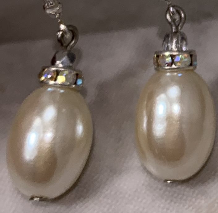 Oval Pearl Sparkle Drop Earrings-