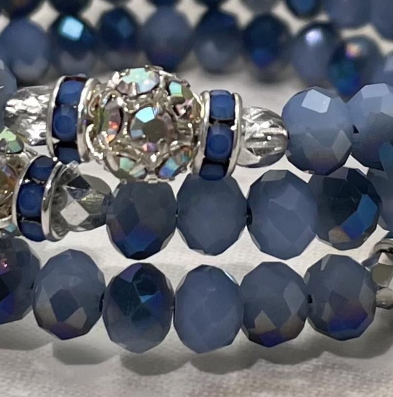 Blues Sparkle Triple Wrap Bracelet-