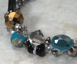 Splendid Turquoise & Jet Double WRAP Bracelet in Silver