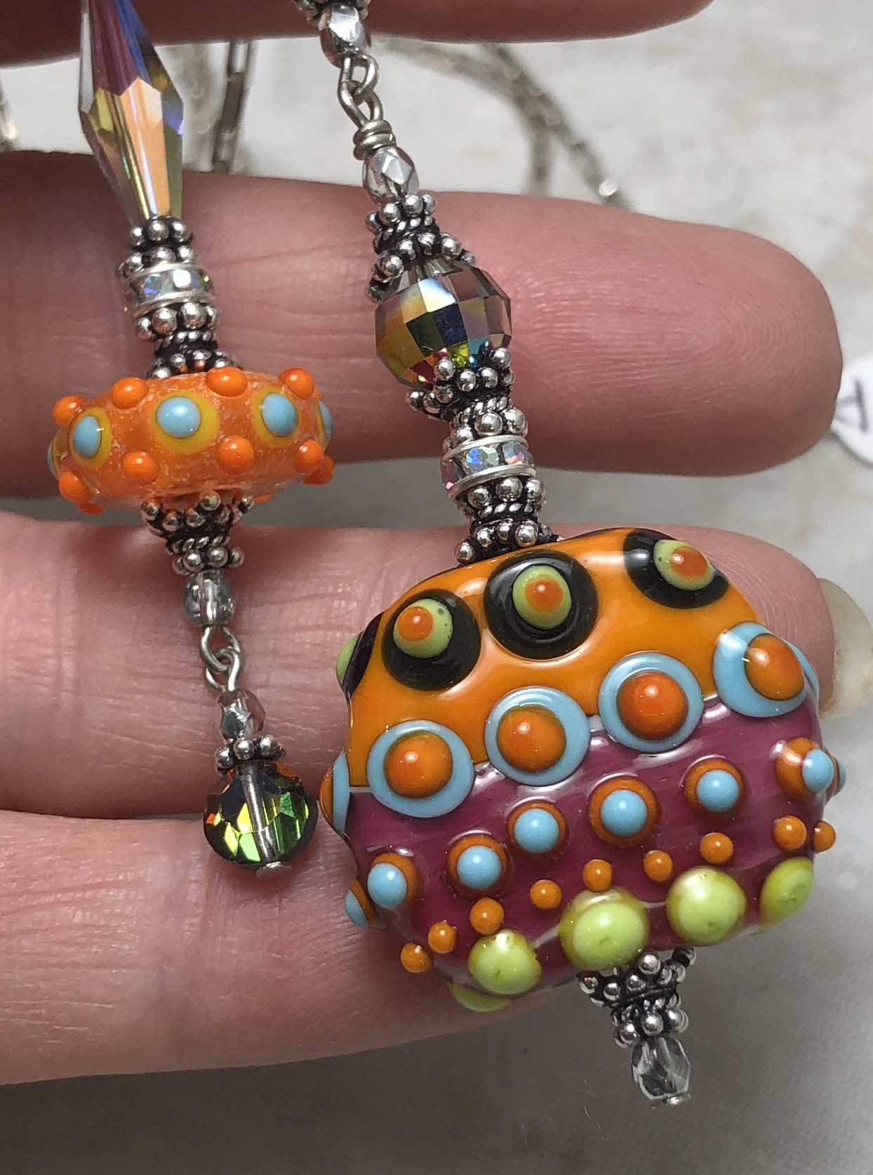 Fab & Funky Dot Brights (Double Drop) Artisan Necklace-