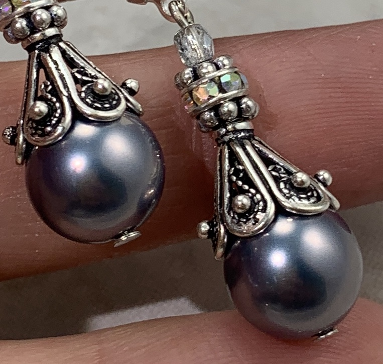 Filigree Sterling Silver and Gray Pearl Earrings-
