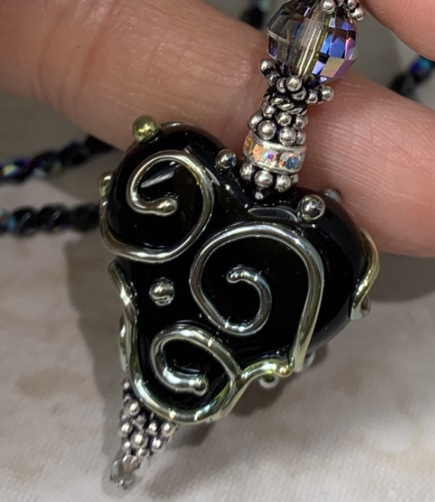 Jet Scrolled Artisan Glass Heart Necklace-