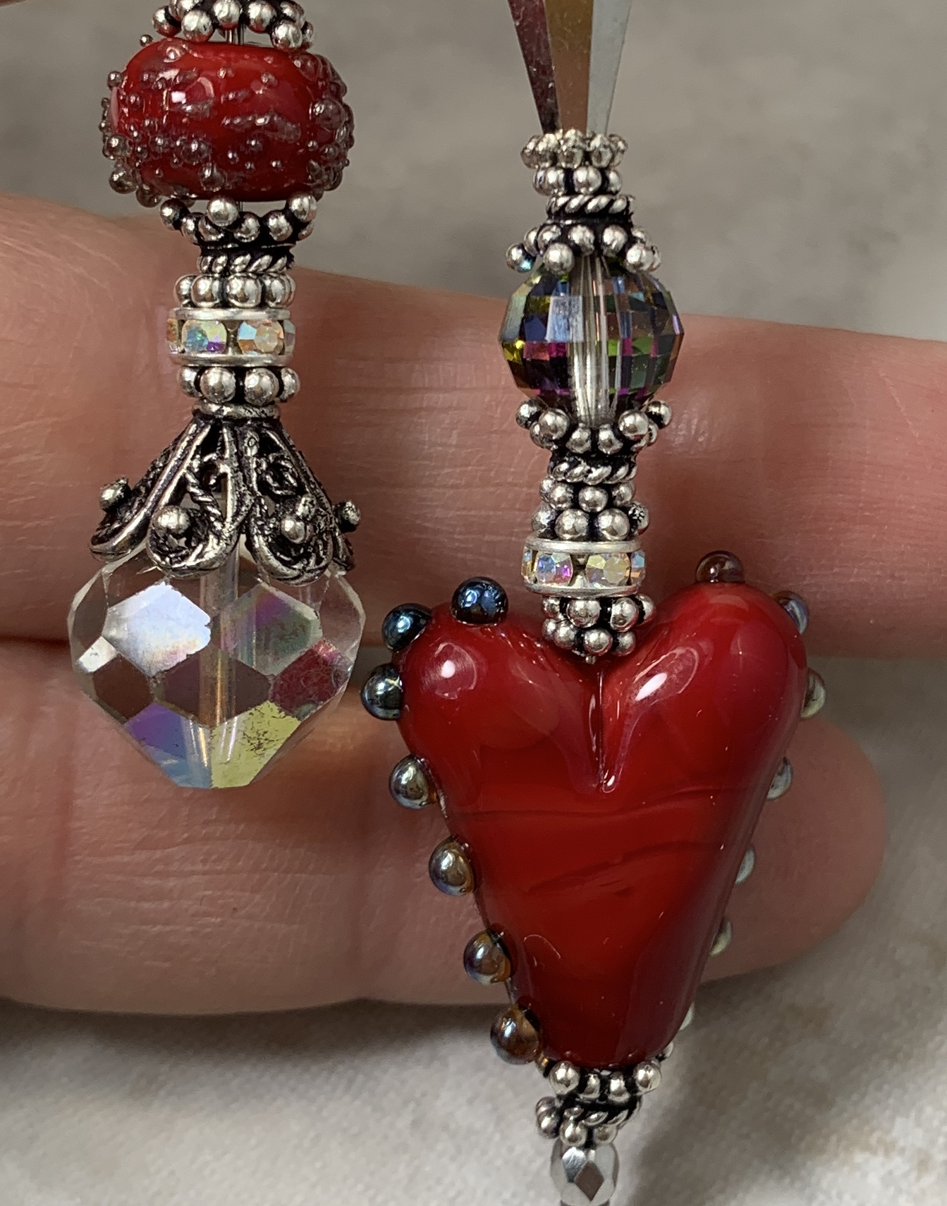 Red Heart Love Artisan Vintage Crystal Necklace-