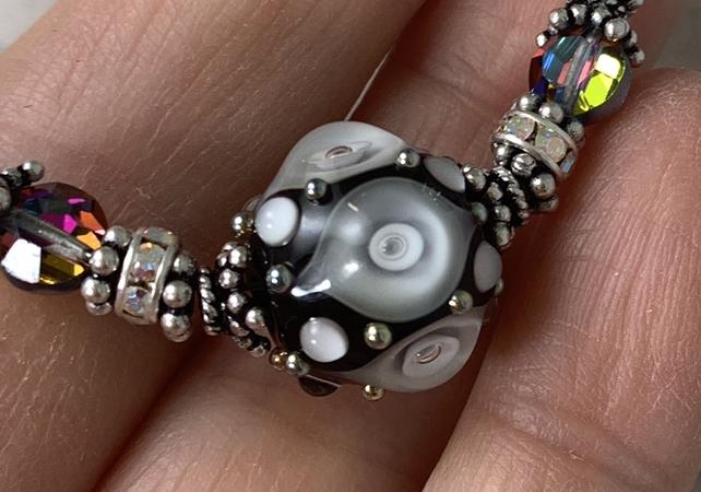 Jet Plunged Art Glass Adjustable Necklace-