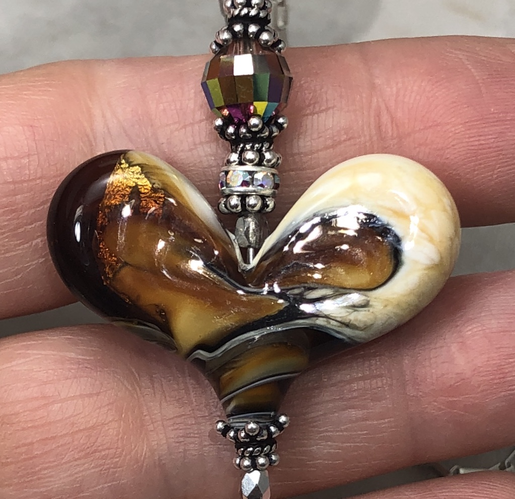 Amber and Ivory Swirled Curvaceous LOVE Necklace-Sue Shefts, Johns Creek, Johns Creek Georgia, vintage jewelry, Swarovski, new design, gifts for her,