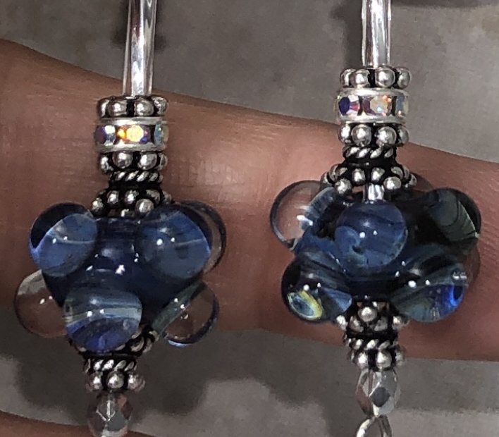 Bubbly Blue Dots and Sterling Silver Dangly Earrings-