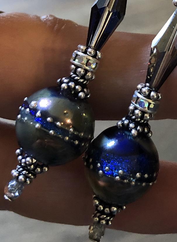 Blue Metallic Dichroic Shimmer Artisan Lampwork & Sterling Earrings-