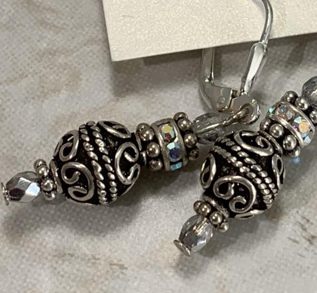 Handmade Bali Silver Petite Textured Earrings-