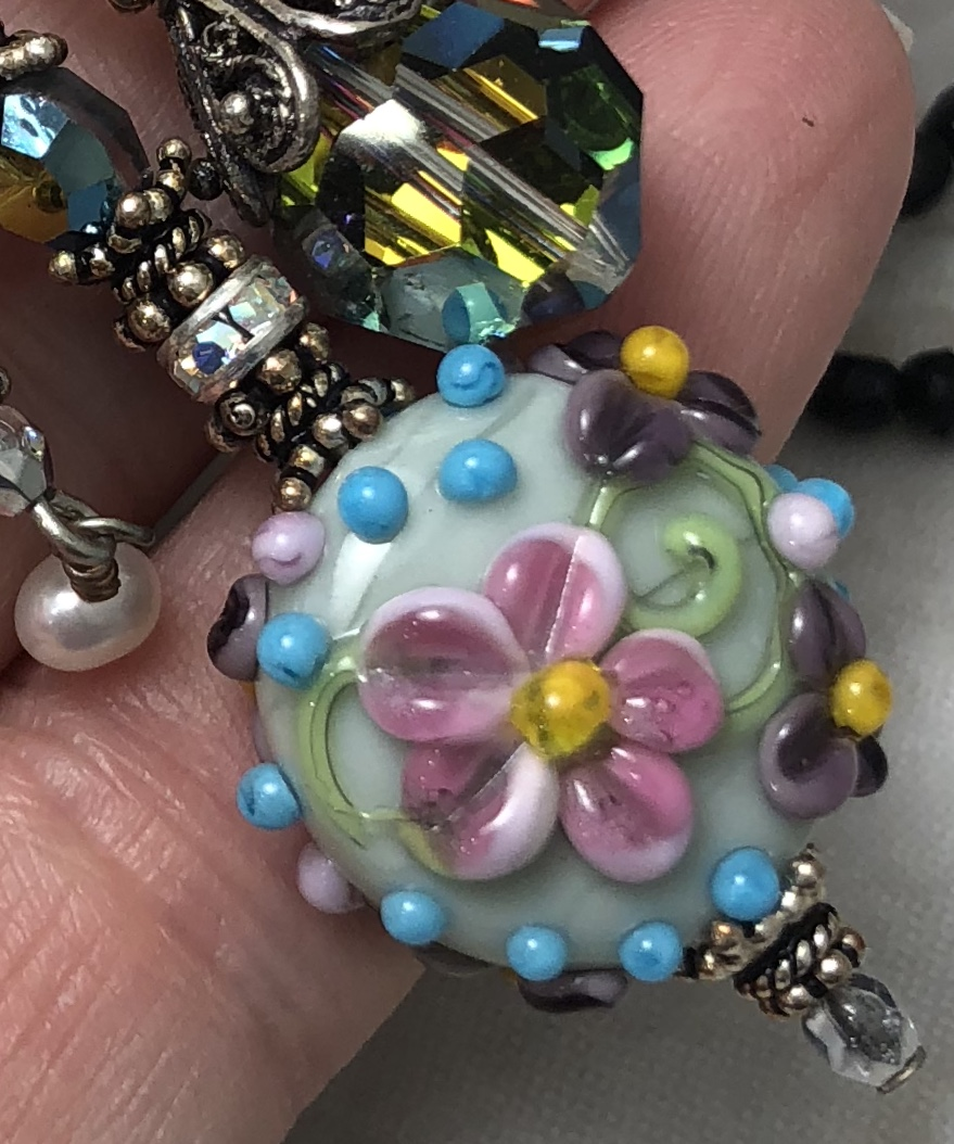 Floral and Dichroic Glass TRIOS Artisan Necklace-