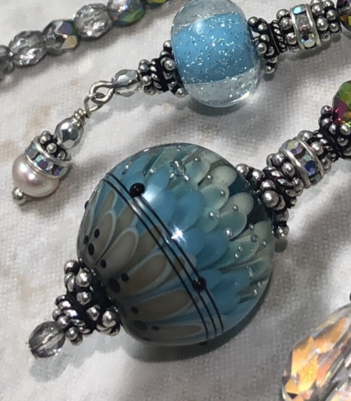 Sky Blue & Jet and Gray Incredible TRIOS Necklace-