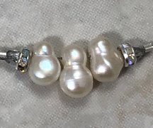 Freshwater Pearl and Sterling Silver Artisan Necklace with Sparkle-