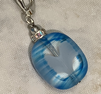 Beautiful Blue Glass Drop Earrings-