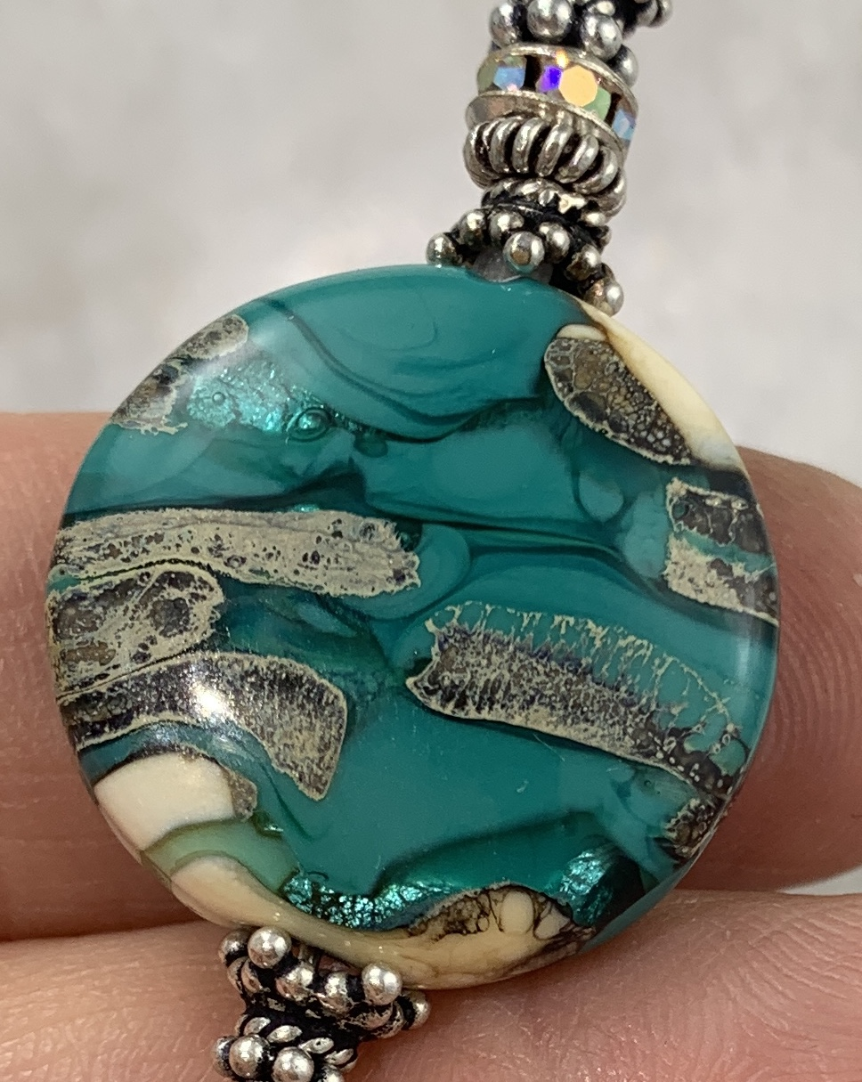 Organic Green and Ivory Art Glass Necklace-