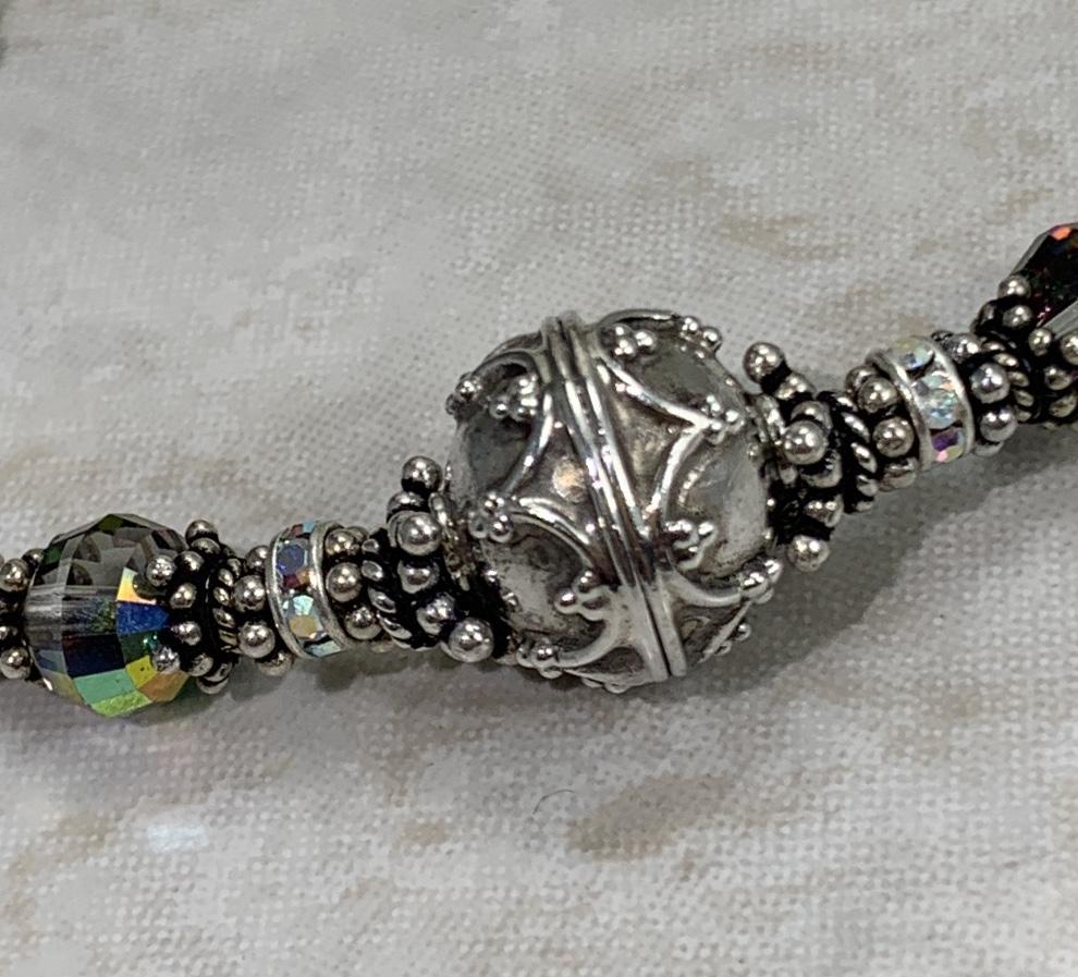 Elegant Silver and Vintage Swarovski Crystal Artisan Curve Bracelet-