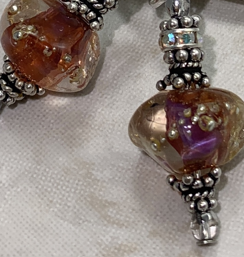 Faceted Glass Nugget Artisan Glass Earrings-