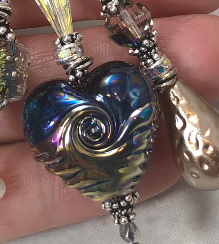 Beautiful Shimmery Blue LoVE TRIOS Artisan Necklace-