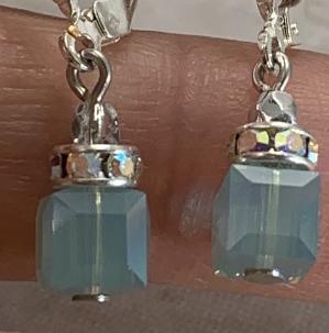 Seafoam Aurora Borealis Swarovski Cube Earrings-
