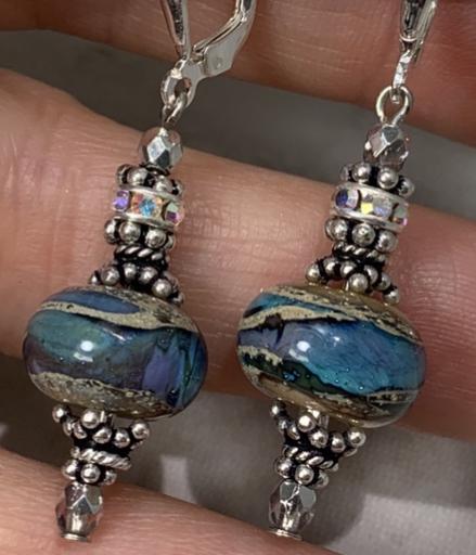 Watercolor Ocean Artisan Earrings-