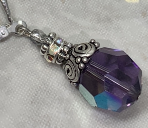 Cardinal Purple Sparkle Swirl Vintage Crystal Earrings-
