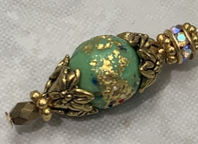 Gorgeous Green Golden Sparkle Italian Glass Earrings-