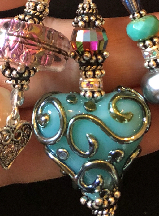 A Turquoise Love TRIOS Artisan Vintage Swarovski Crystal Necklace-
