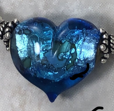 Deep Ocean Waters Foiled Heart Artisan Necklace-