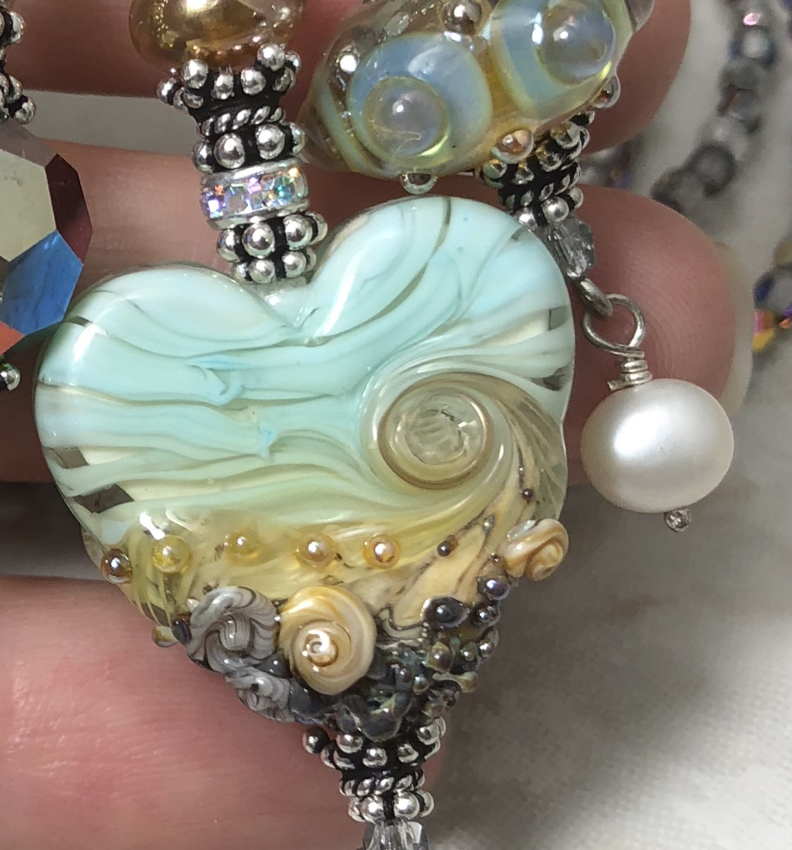 Beachy LOVE Fab TRIOS Pale Green Artisan Glass Necklace-