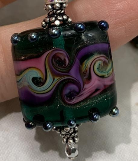 Purple and Green Swirls Art Glass Necklace-