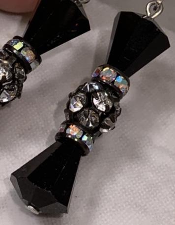 Art Deco Vintage Jet Crystal Sparkler Earrings-