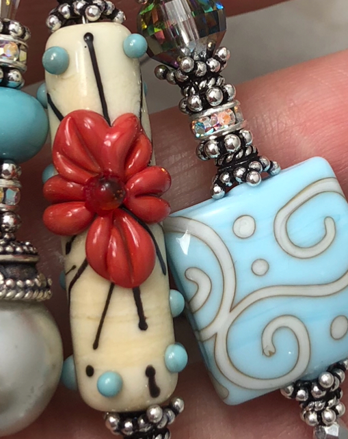 Southwest Floral TRIOS Artisan Glass & Vintage Crystal Necklace-