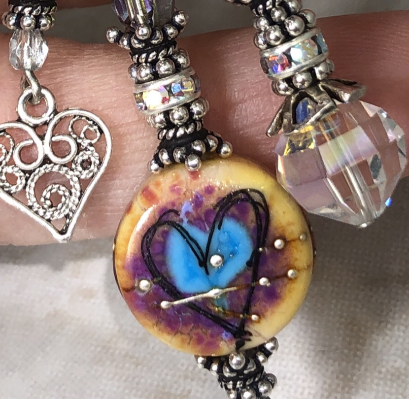 Turquoise & Peach LoVe TRIOS Artisan Necklace-