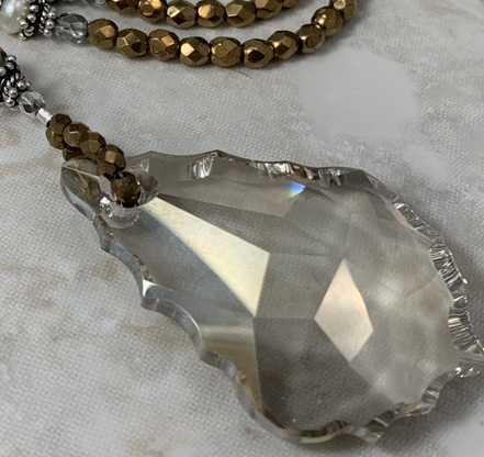 Gorgeous Swarovski Crystal with Pearls and Bronze Shimmer Artisan Necklace-
