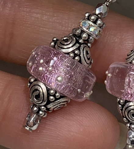 Icy Pink Dichroic Shimmer Earrings-