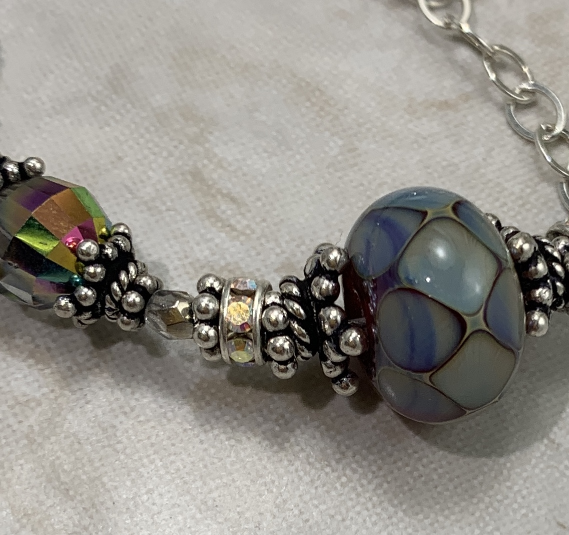 Mod Mosaic Sterling and Lampwork Art Glass Necklace-