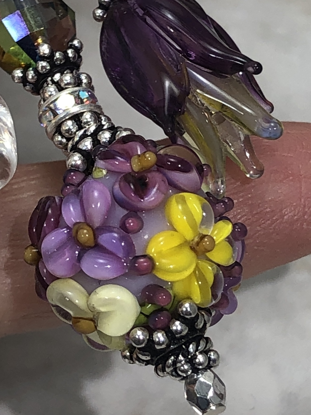 Purple and Yellow Floral Beauty TRIOS Necklace-