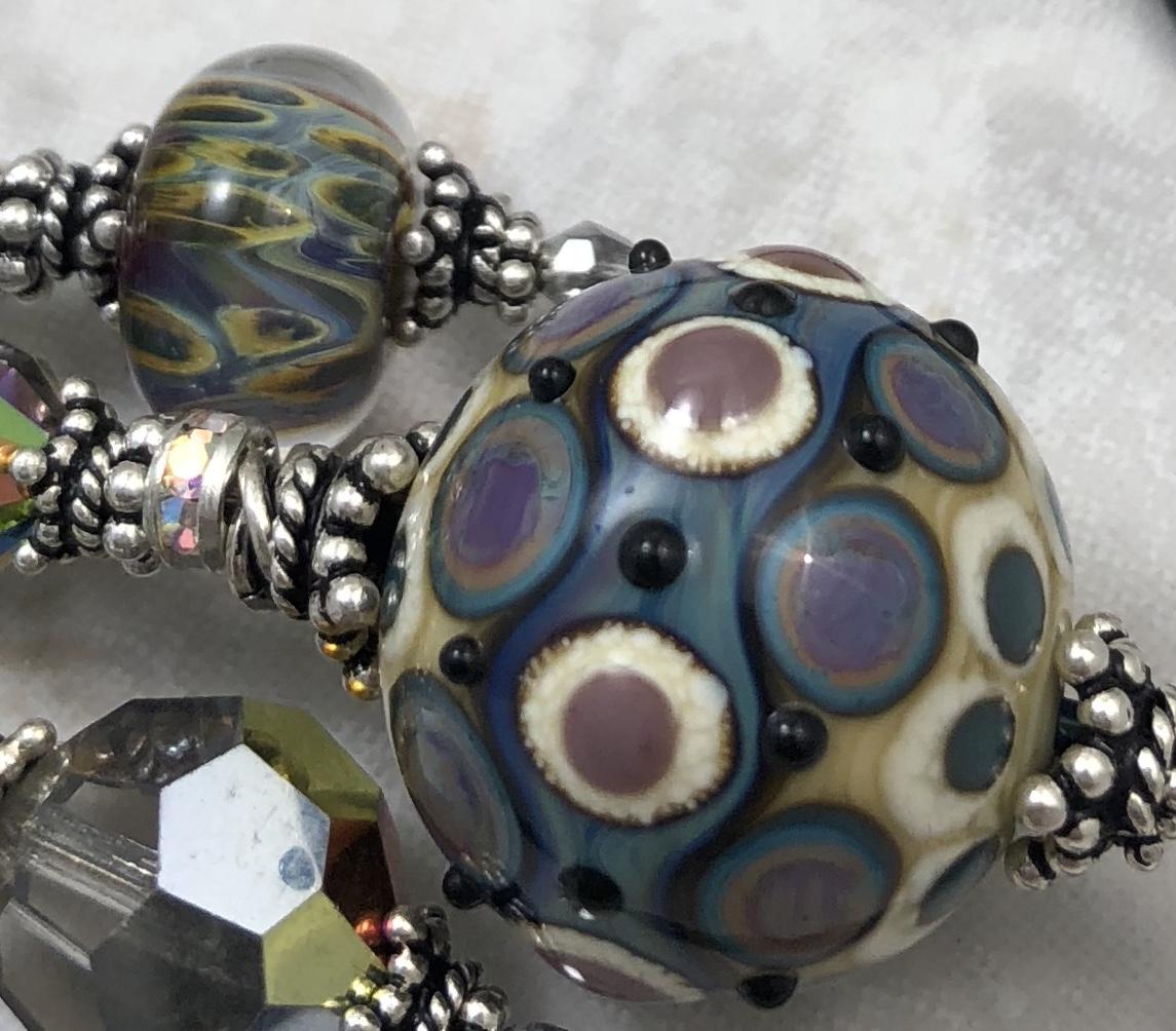Divine Dots On Jet Unique TRIOS Artisan Necklace-