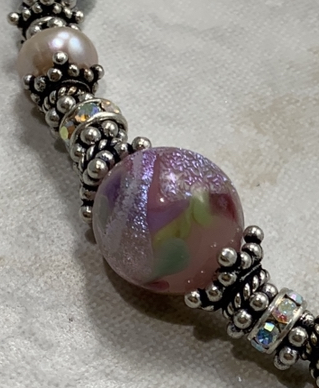 Lavender Pink Dichroic Sparkle Artisan Bracelet-