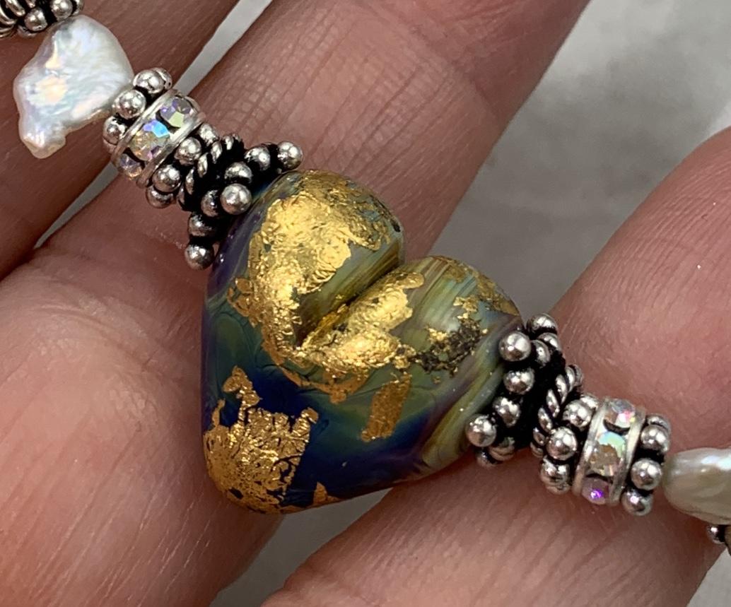 Gold Leaf and Raku Lampwork Glass  and Sterling Bracelet-