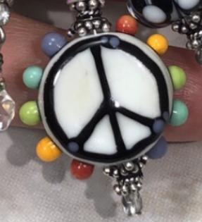 Rainbow Power Artisan Lampwork & Sterling TRIOS Necklace-