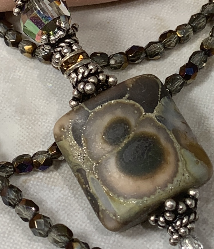 Organic Brown Bubbles Artisan Necklace-