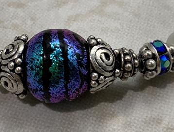 Fabulous Blue & Purple Sparkles Dichroic Glass & Sterling Artisan Bracelet-
