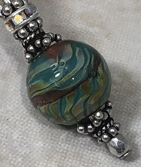 Copper & Green Southwest Artisan Sterling & Swarovski Earrings-