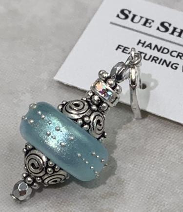 Snowball Sparkle Aqua Blue Shimmer Earrings-