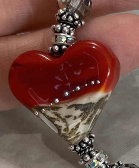 Cherry Red & Ivory LoVe Artisan Long Drop Necklace-