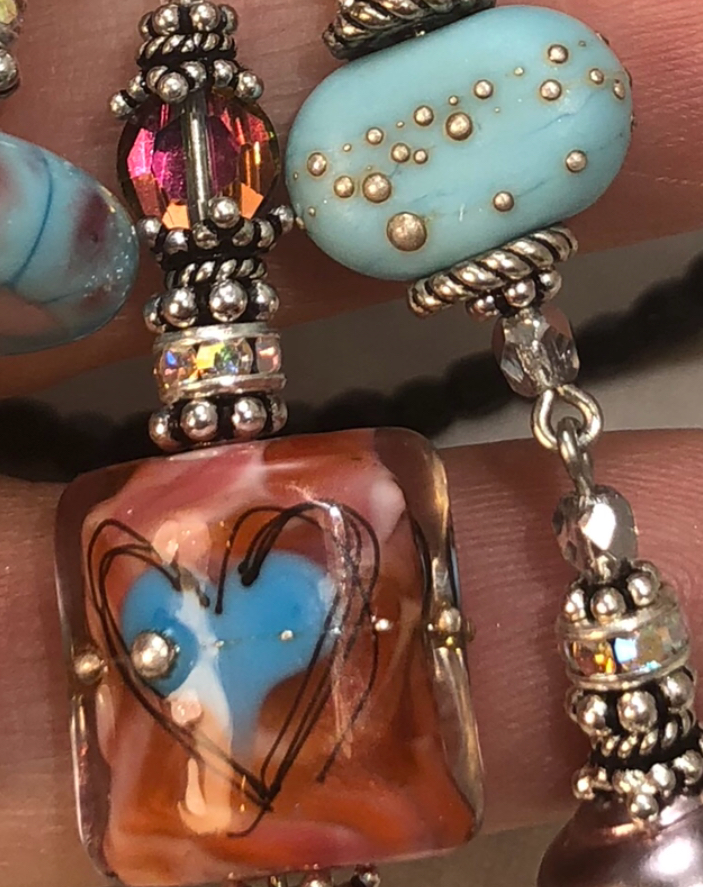 Artisan LoVe TRIOS Necklace with Turquoise Lampwork Accents-