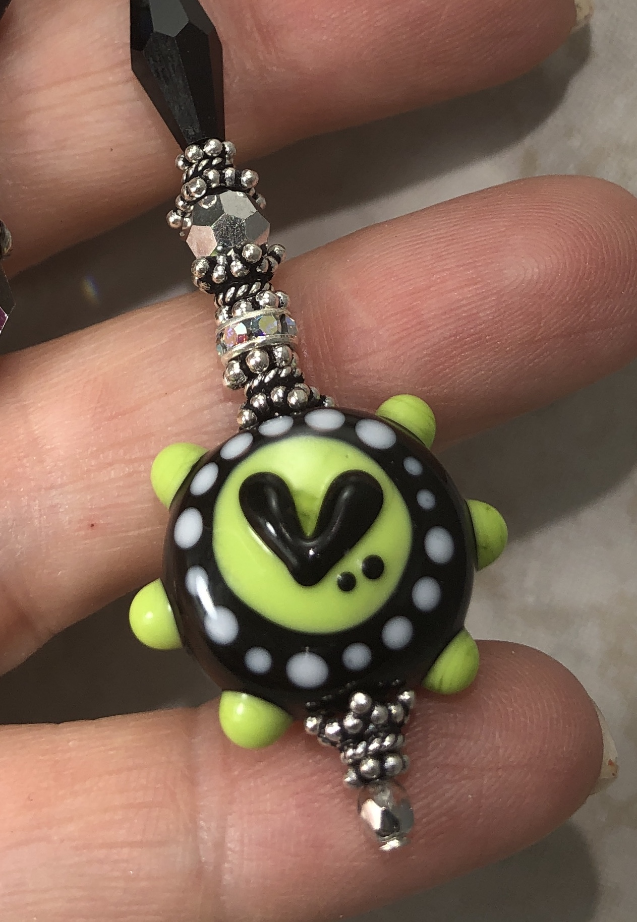 Lime Green and Inky Black L💚 vE Artisan Necklace-