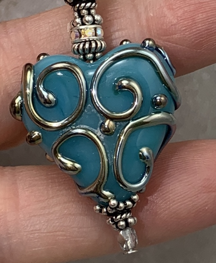 Turquoise Scrolled Artisan Glass Heart Necklace-