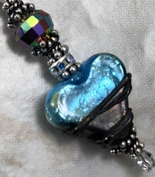 Absolutely Fab Artisan LOVE Lampwork and Vintage Crystal LARIAT Necklace-Sue Shefts, Johns Creek, Johns Creek Georgia, vintage jewelry, Swarovski, new design, gifts for her,
