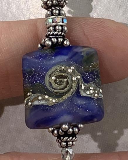 Swirled Blues Artisan Glass and Vintage Swarovski Dangle Necklace-